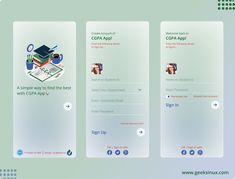 This is short app idea for CGPA calculation because at university level most of the student doesn't know how to calculate their CGPA and GPA. So I decided to design this UI kit for developers to create this app. I dedicate this kit to my beloved university UMT(Lahore, Pakistan). If anyone wanna this UI kit contact me +923134699975( Whatsapp), For further detail visit my site www.geeksinux.com Create Account, Lahore Pakistan, Happy We, User Experience Design, User Interface Design, Ui Kit, Interactive Design, Mobile Application, Web Design