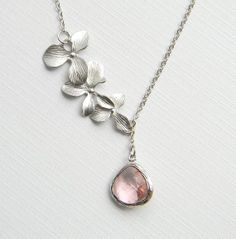 Silver Orchid Flower Lariat  Orchid Flower Necklace  by DanaCastle, $27.00