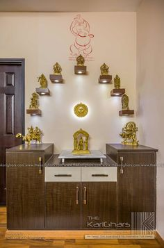 Pooja room designs classic style corridor, hallway and stairs by the karighars classic Pooja Room Design, Home Room Design, Room Design, Pooja Rooms, Indian Home Decor, Temple Design For Home, Hall Interior, Room Door Design, Pooja Room Door Design