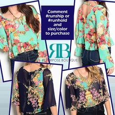 Transition Into Fall With Florals - Floral Crop blouses $24 Navy or Mint
