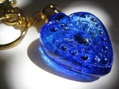 Blue heart bottle keyring