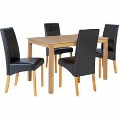 Bromham Oak Dining Table And 4 Chocolate Skirted Chairs At Argos Co Uk