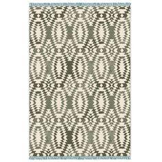 SPO Palmette Chenille Wool Kilim, Blue Sage, 12'x18'