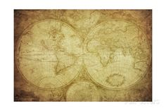 Vintage Map Of The World Print by javarman at AllPosters.com