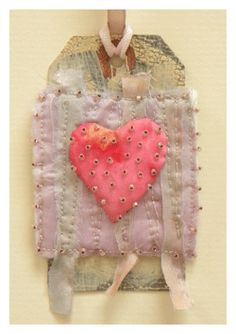 fabric art heart tag by Beryl Taylor