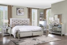 Acme BD00242Q-4PC 4 pc Astoria grand Sliverfluff champagne finish wood faux leather LED queen bedroom set Wood Bedroom Sets, Glam Bedroom, King Bedroom Sets, Modern Bedroom, Mirrored Nightstand, Mirrored Furniture, Bedroom Furniture, Mirror Bed, Dresser Mirror