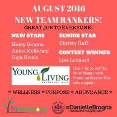 Danielle Brogna's Young Living Essential Oil Teams Rank Advancements for August 2016