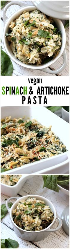 Vegan Spinach and Artichoke Pasta---A deliciously creamy and decadent pasta bake that tastes just like spinach and artichoke dip without all the guilt! This vegan, gluten-free, kid-friendly recipe will have the whole family asking for seconds.