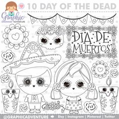 75%OFF - Day of the Dead Stamps, Dia de los Muertos Stamps, COMMERCIAL USE, Digi Stamp, Digital Image, Halloween Digistamp, Coloring Page