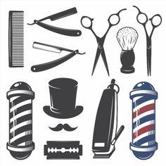 Set of vintage barber shop elements. poster #poster, #printmeposter, #mousepad, #tshirt
