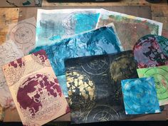 Using stenciled prints to make a Mixed Media Art Journal collage by Gwen Lafleur using stencils from StencilGirl.