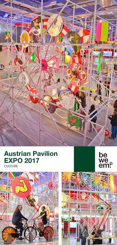 """BWM Architekten developed an unconventional and refreshingly different concept for the Austrian pavillion at the EXPO 2017 in Astana. The main theme """"brain, heart and muscle power"""" offered joyful interactive exhibits for all the senses. Visitors were invited to playfully help power the exhibits. Through their combined efforts the exhibition showed its full potential. PROJECT_Austrian Pavilion EXPO 2017 DEPARTMENT_Culture LOCATION_Astana Image: © artworkcompany / Alexander Kramel & Manuel… Muscle Power, Main Theme, Joyful, Pavilion, Hospitality, Brain, Presents, Concept, Invitations"""