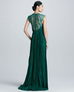 Lace Pleated Chiffon Gown  by Catherine Deane at Neiman Marcus.