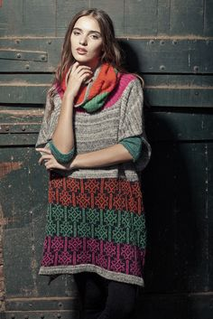 Poncho Poly - Handmade knitwear - wool colors tribal print unique designer Argentina Latin América mohair