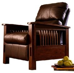 Mission Craftsman Leather Morris Recliner in Dark Brown