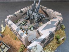 1/144 WW II German Flak 40 , 128mm FlakZwilling twin AA gun and Bunker | eBay