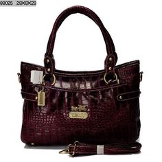 Coach Poppy Python Leather Tote Bag Wine