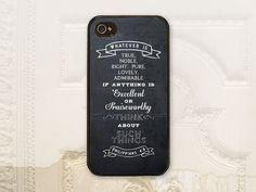 Chalkboard Philippians 4.8 Christian phone case iPhone 4 4s 5 5s 5c 6 6+ plus Samsung Galaxy s3 s4 s5 Scripture Bible verse C2084
