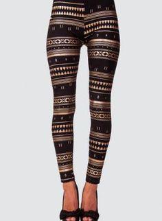 Gold Foil Aztec Print Leggings with shorts