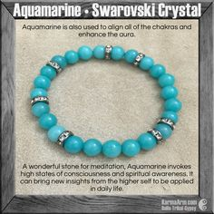 Meditate + manifest and ...sparkle with the Swarovski crystal & gemstone collection. MANTRA: My heart and mind are in harmony. - 8mm Aquamarine Round Natural Gemstones - Vintage Swarovski Gunmetal Ron