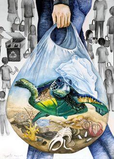 Anyone Can Save The Ocean | Bow Seat Ocean Awareness Programs Save Earth Drawing, Earth Drawings, Poster Drawing, Illustration Art, Illustrations, Environmental Art, Ocean Art, Art Plastique, Art Sketches