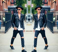 Chaby H. - H&M Leather Biker Jacket, Masamod Fedora Hat By Hungarian Designer, Vintage Diy, Derby Shoes Leather - LIVE, WORK, CREATE -NYC | LOOKBOOK