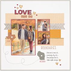"""a """"State"""" of Love Love Has No Boundaries: Cute mini states & provinces stamps from Close To My Heart. Single page scrapbook layoutLove Has No Boundaries: Cute mini states & provinces stamps from Close To My Heart. Single page scrapbook layout Scrapbook Examples, Scrapbook Patterns, Scrapbook Sketches, Scrapbook Page Layouts, Scrapbooking Ideas, Scrapbook Templates, Scrapbook Paper Crafts, Scrapbook Cards, Dyi"""