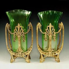 ❤ - Pair Antique Art Nouveau Green Glass & Bronze Vases