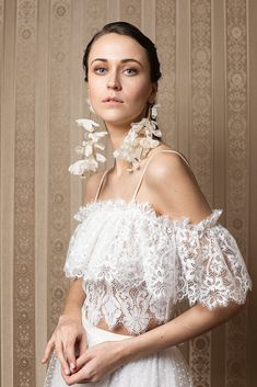 Meadow is the 2020 wedding dress collection from bohemian bridal label Katya Katya. Chiffon Flowers, Silk Chiffon, Bridal Collection, Dress Collection, Bridal Separates, Festival Wedding, Vineyard Wedding, French Lace, Tulle