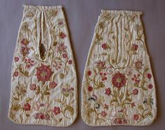 Pockets,pair,embroidered, early-mid 1700's