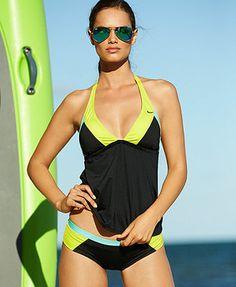 6137f2e395 Nike Colorblock Halter Tankini Top & Colorblock Bikini Bottom & Reviews -  Swimwear - Women - Macy's