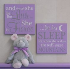 Purple Baby Nursery Signs And Though She Be By Nelsonsgifts Room
