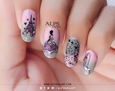Cinderella-nails-Pink-and-grey4.jpg (800×640)