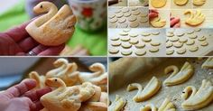 swan cookies - try your favorite sugar cookie or maybe canned biscuits/cookies. Cookie Recipes, Dessert Recipes, Pancake Recipes, Refreshing Desserts, Homemade Pancakes, Homemade Pastries, Sugar Cookie Dough, Dough Recipe, Cute Food