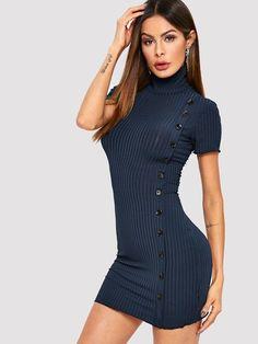 Button Side High Neck Bodycon Dress 4bf299a3a