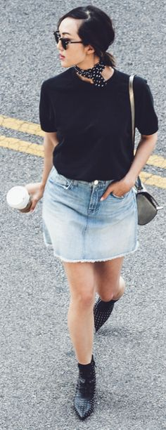 That little silk neck scarf can be tied and used just like a bandana. That is a big trend for summer. Via Chriselle Lim Top: Sincerely Jules, Skirt: 7Fam, Scarf: Ralph Lauren Sunglasses: Ray-Ban Ankle Boots: Saint Laurent