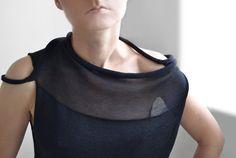 Black transparent asymmetrical top Paris fashion by okapiknits
