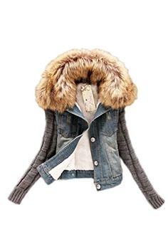 Women Casual Button Down Patchwork Long Knit Sleeve Fleece Thicken Denim Jacket Blazer Outcoat Plus Size Blue XXL