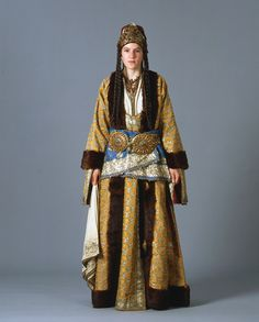 Greek woman's bridal dress from Silli, Ikonion in Asia Minor in the Ottoman fashion styles. - 1900