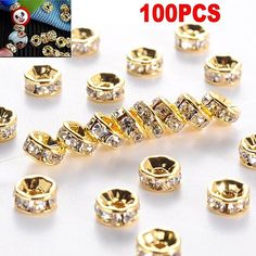 Golden Crystal Rhinestone Spacer Beads for DIY Jewelry Making Shining Bead Findings Fashion Jewelry Accessories Jewelry Making Beads, Beaded Jewelry, Cheap Beads, Diy Jewelry Findings, Wholesale Beads, Acrylic Beads, Bead Crafts, Crystal Rhinestone, Diys