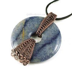 Copper Wrapped Blue Aventurine Donut Necklace Pendant