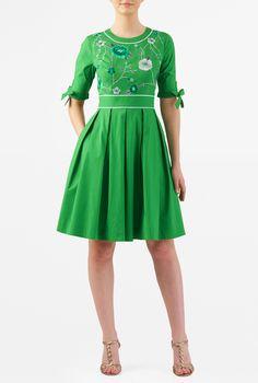 f04a361cb86f51 Floral embellished tie sleeve stretch poplin dress