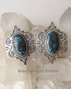 Native American Artist signed LLL Morenci (?) Turquoise & Stamped Sterling Silver POST Earrings | Native American artisan handcrafted, equine, southwestern Turquoise Jewelry | Schaef Designs Collectible artisan handcrafted Southwestern & Equine Jewelry | Schaef Designs online Jewelry Gallery | San Diego CA