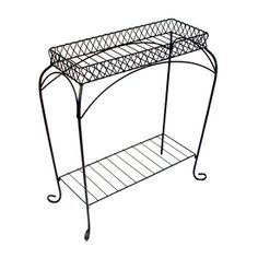 Garden Treasures Nottingham 30-in Black Steel Rectangular Plant Stand 52334
