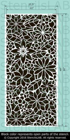 Large Seamless Floral stencil Reusable by StencilsLabNY on Etsy