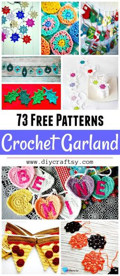 Decorate your home with these cute and adorable 73 free crochet garland pattern & Ideas! These gorgeous crochet garland patterns ould surely bring Scrap Yarn Crochet, Crochet Bunting, Crochet Garland, Crochet Decoration, Diy Garland, Crochet Gifts, Crochet Flowers, Garland Ideas, Granny Square Crochet Pattern