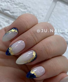 Navy Acrylic Nails, Blue Gold Nails, Navy Nail Art, Dark Blue Nails, Gold Nail Art, Glittery Nails, Navy Blue Nail Designs, Marble Nail Designs, Cute Acrylic Nail Designs