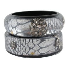 Nicholas King Silver Animal & Crystal Flat Bangle ❤ liked on Polyvore Silver Bangle Bracelets, Bangles, Jewelry Bracelets, Crystal Jewelry, Decorative Bowls, Jewelery, Flats, Crystals, Polyvore