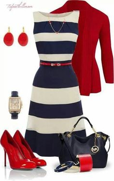 Maxi or navy stripe dress Love the red shoes, love the bag, love everything! Who does your hair? #Best Friends Wedding quote! :)