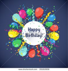 Happy Birthday card with multicolor balls, serpentine and confetti . Vector Illustration.